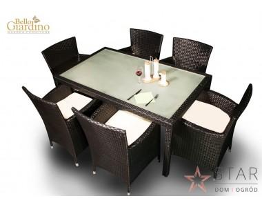 Zestaw mebli stołowych CAPITALE czarny/ciemny brąz