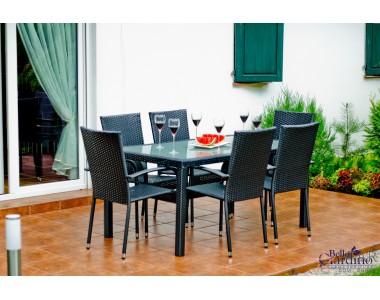 Zestaw mebli stołowych AVVICENTE czarny