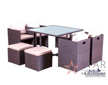 Zestaw mebli stołowych CRISTALLO czarny