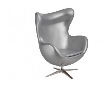 Fotel jajo szeroki skóra ekologiczna 528 srebrny