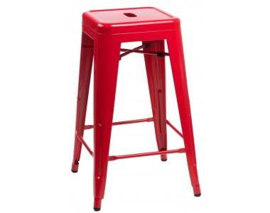 Stołek barowy Paris 66 cm czerwony inspirowany Tolix