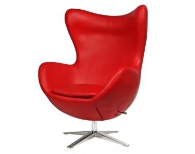 Fotel Jajo szeroki skóra ekologiczna czerwona