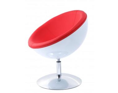 Fotel Mercury K-biały, S-czerwone