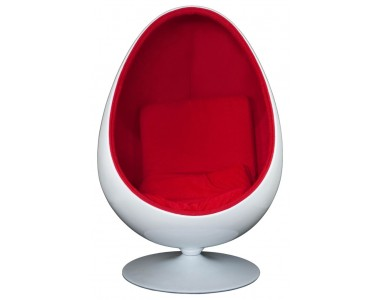 Fotel Ovalia Chair biało czerowny
