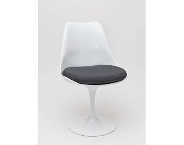 Krzesło Tul białe czarna poduszka