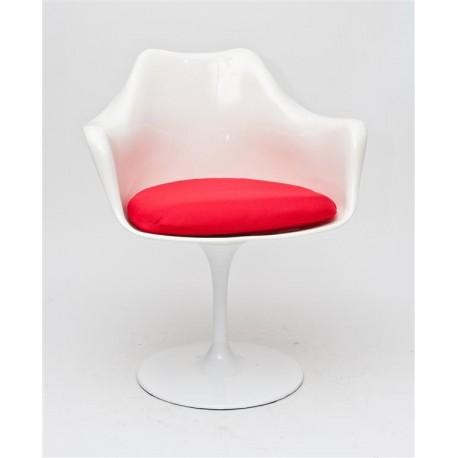 Krzesło TulAr białe/czerwona poduszka
